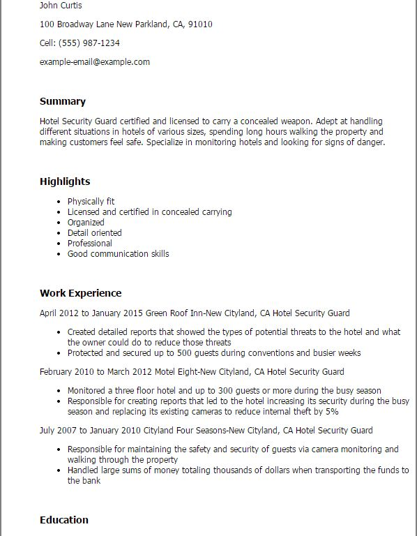Luxury Inspiration Security Guard Resume 14 Security Guard Resume ...