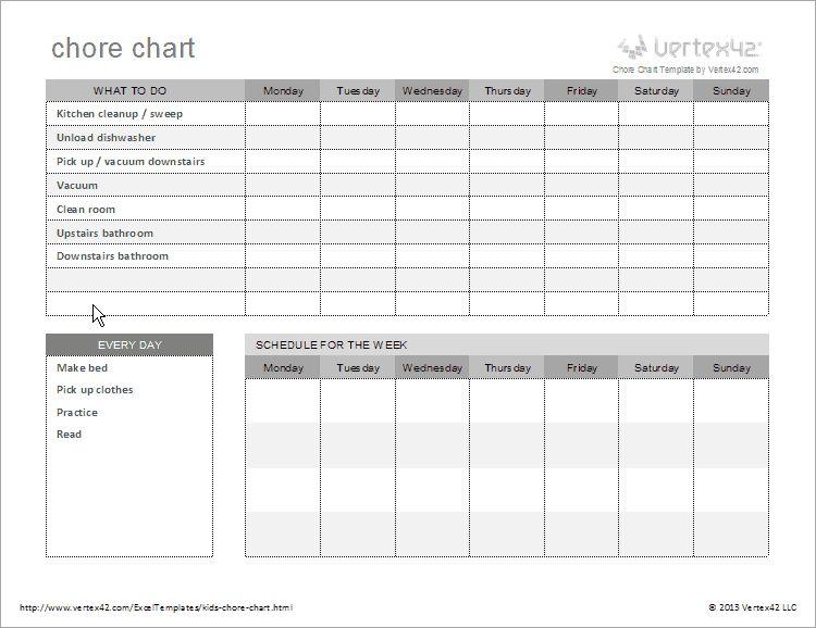 Free Kids Chore Chart Template