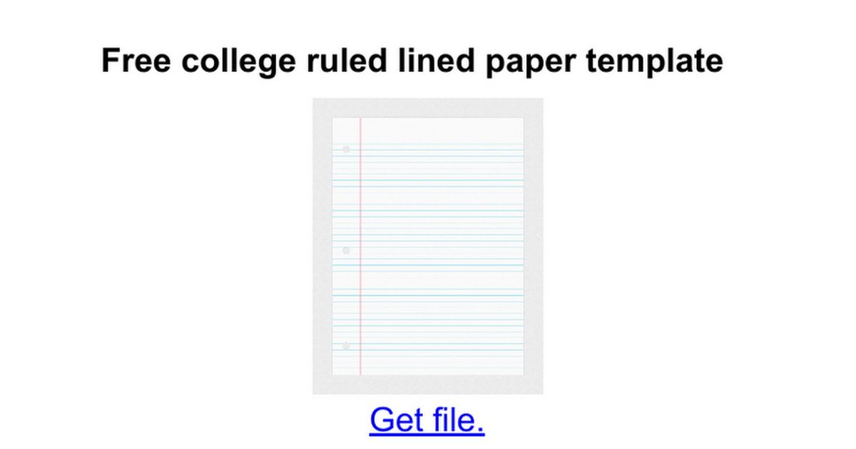 Free college ruled lined paper template - Google Docs