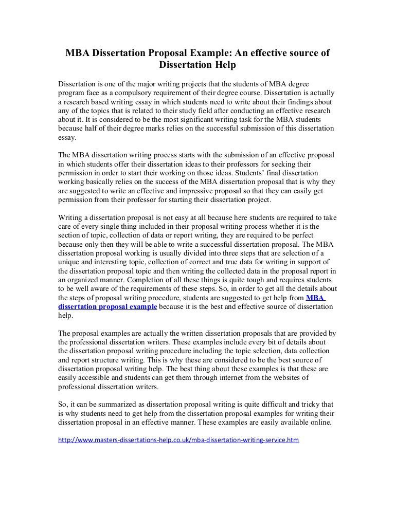 MBA Dissertation Proposal Example