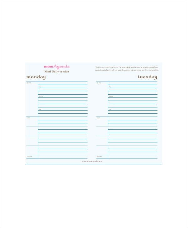 Daily Agenda Planner Template - 4+ Free PDF Documents Download ...