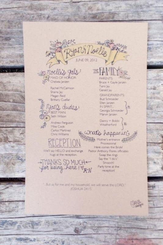 One Page Wedding Program Template – bikeboulevardstucson.com