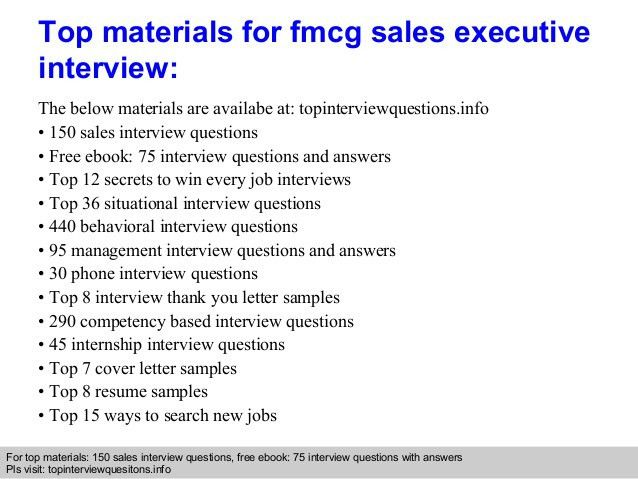 Fmcg sales executive interview questions and answers