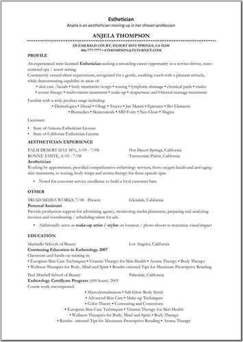 Aesthetician Resume Objective | Resume Writing Dictionary