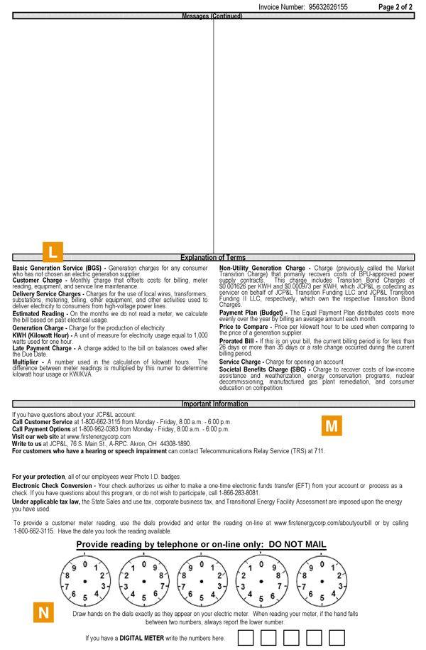 Jersey Central Power & Light Bill Format