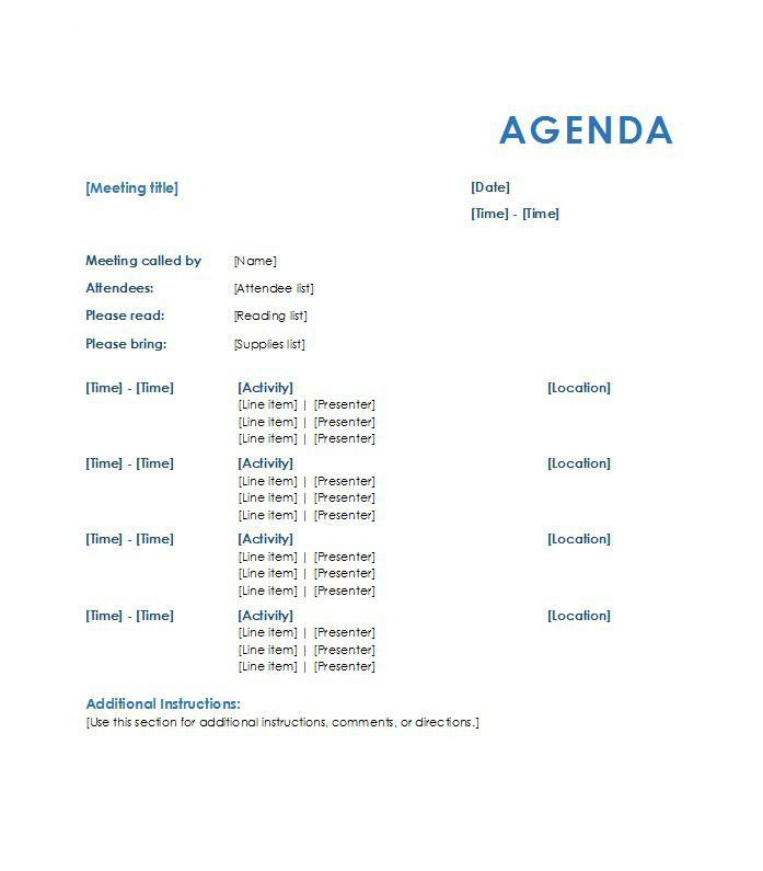 How To Write An Agenda For A Meeting Examples Free Meeting Agenda – Agenda Layout Examples