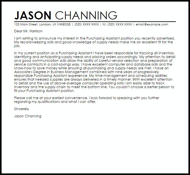 Purchasing Assistant Cover Letter Sample | LiveCareer