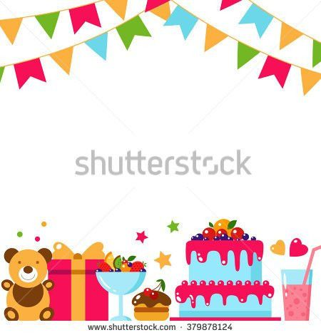 Happy Birthday Template Card Flat Vector Stock Vector 386725378 ...
