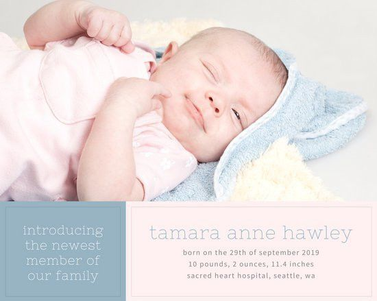 Pink and Blue Newborn Baby Birth Announcement Photo Collage ...