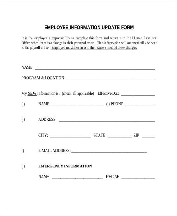Sample Employee Information Form - 10+ Free Documents in Doc, PDF