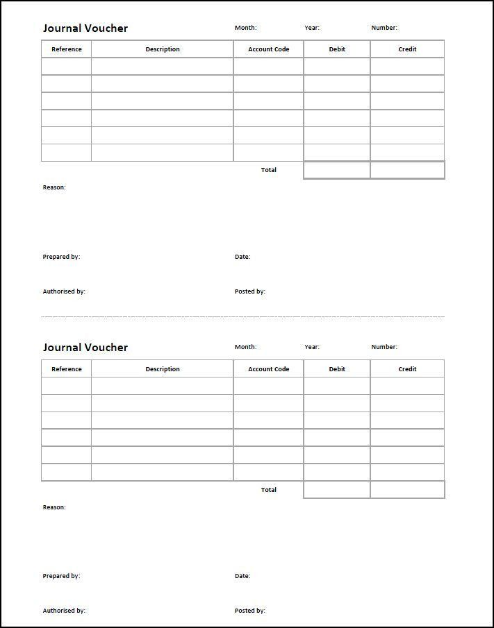 Journal Voucher Template | Double Entry Bookkeeping