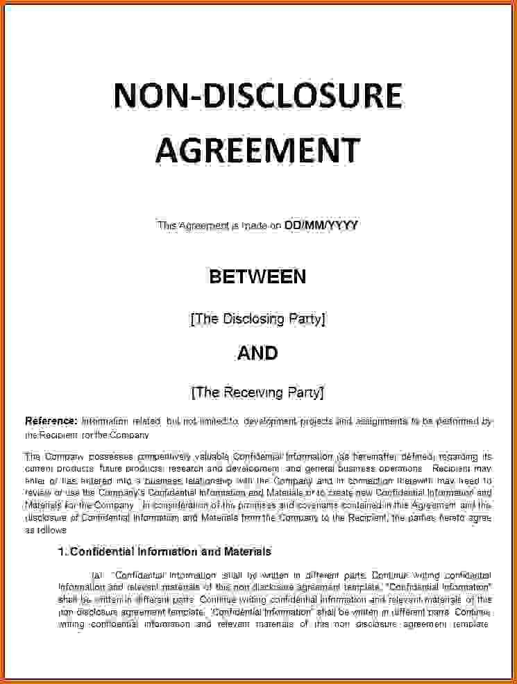 non disclosure agreement template wordReference Letters Words ...