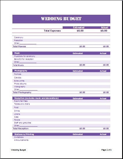 Formal Wedding Budget Planner Template | Formal Word Templates