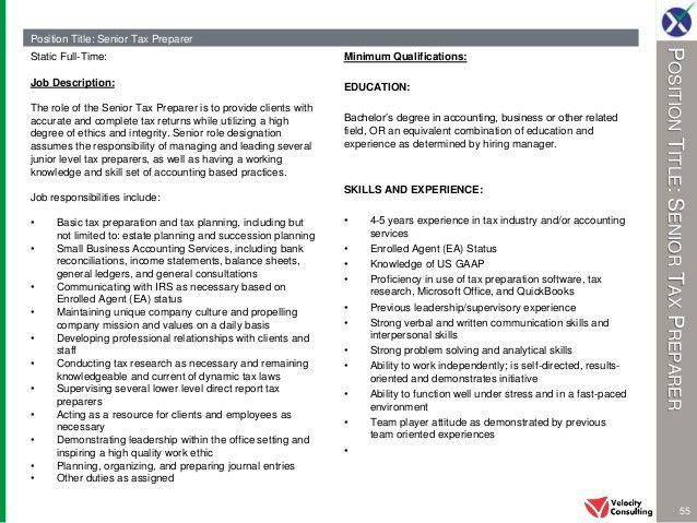 tax preparer job description chapter 1 xpress job description