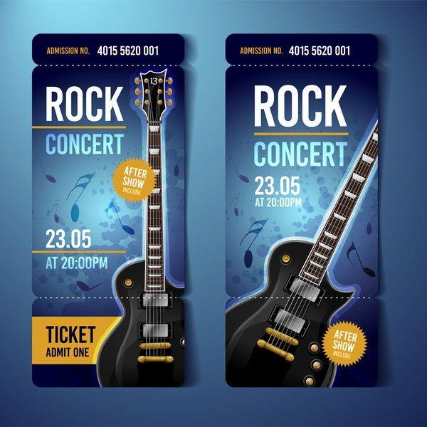 Rock concert tickets template vector 03 - Vector Music free download