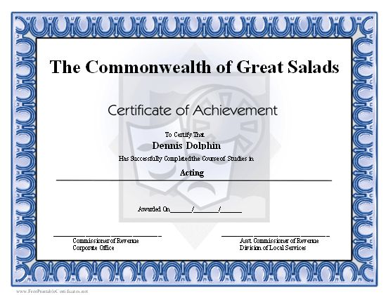 A printable certificate of achievement honoring an actor, actress ...