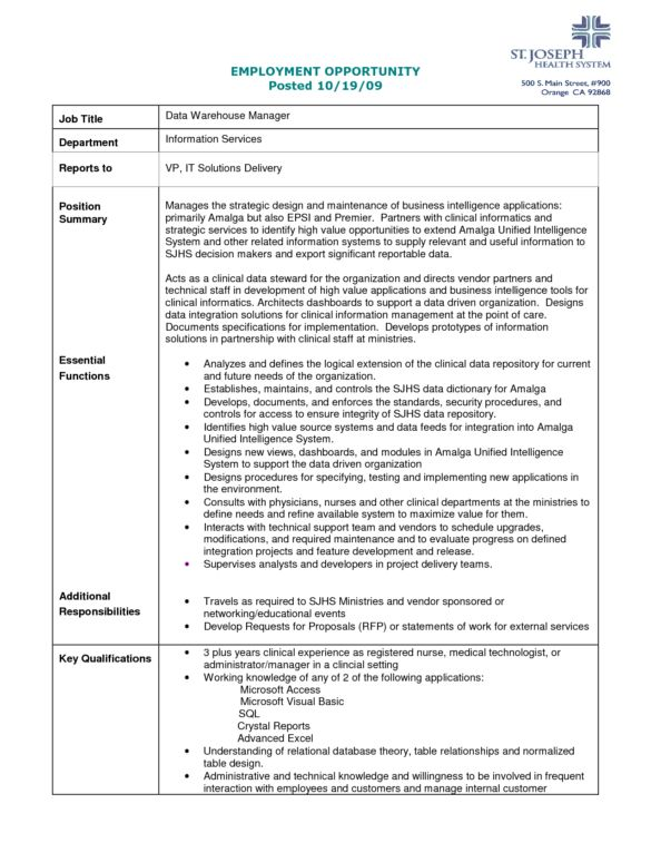 Printable Employment Opportunity and Data Warehouse Manager for ...