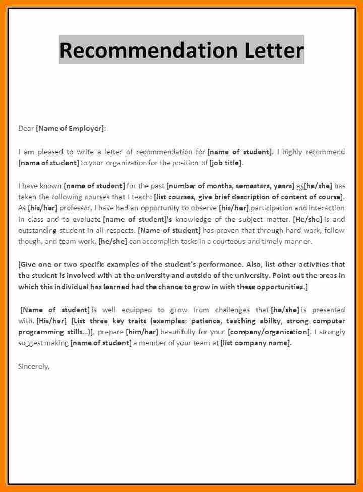 Reference Letter Format For Job In Word.letter Of Recommendation ...
