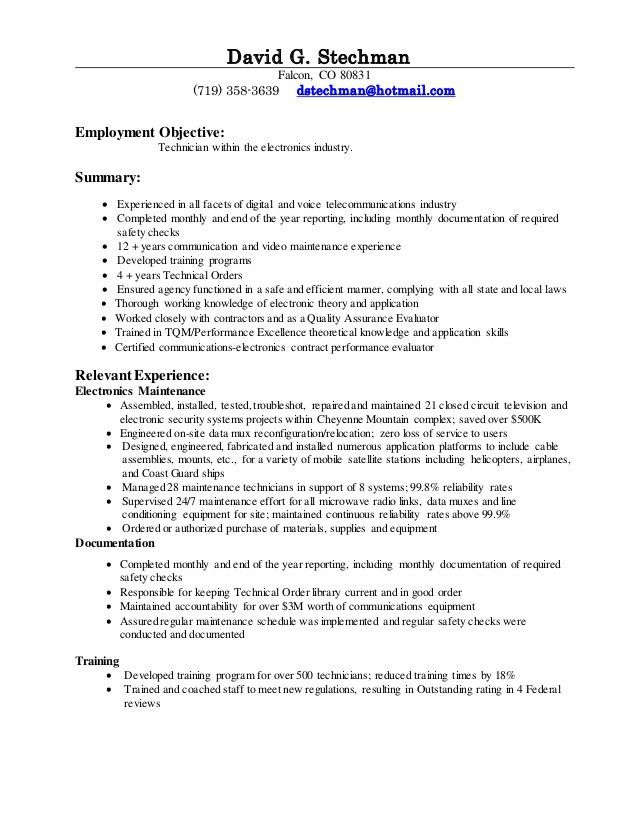 Cable Installer Technician Resume - Contegri.com