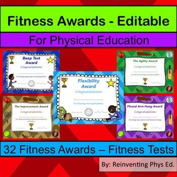 32 Fitness Awards - Physical Education Certificates (Editable) | TpT