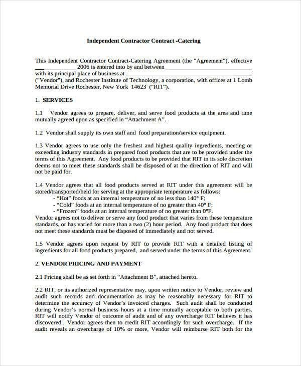 9+ Catering Contract Templates - Free Sample, Example Format ...