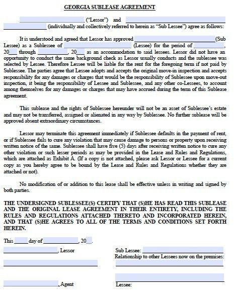 Free Georgia Sublease Agreement – PDF Template