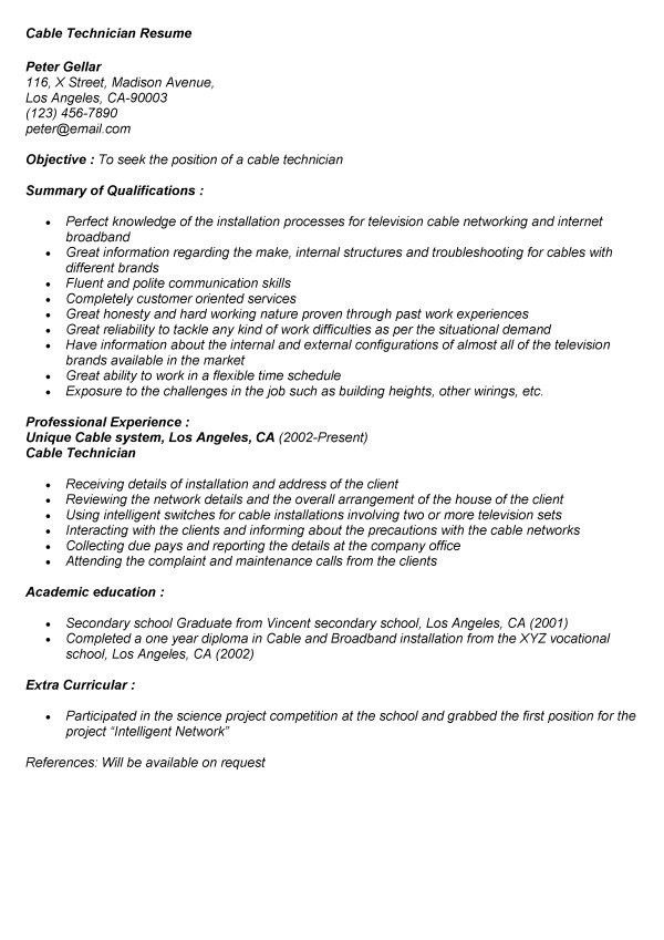 cable technician resume installation technician resume samples ...