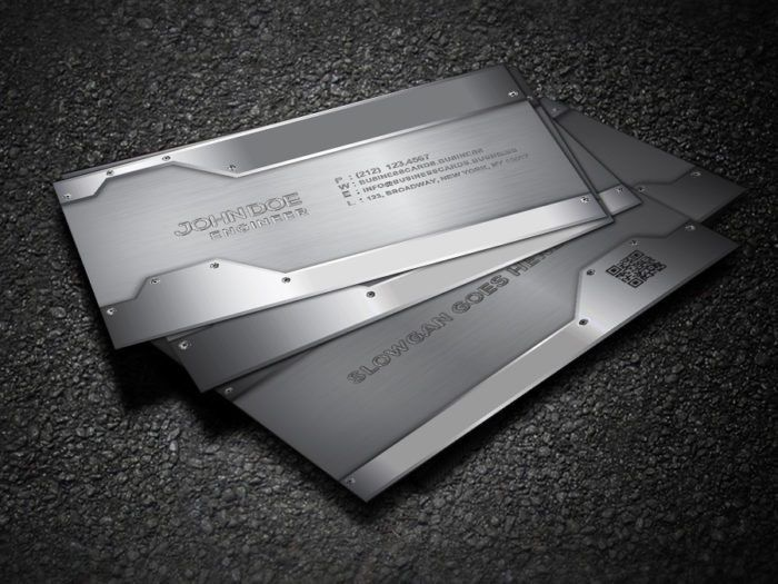 Free Metal Business Card Template for Photoshop : Business Cards ...