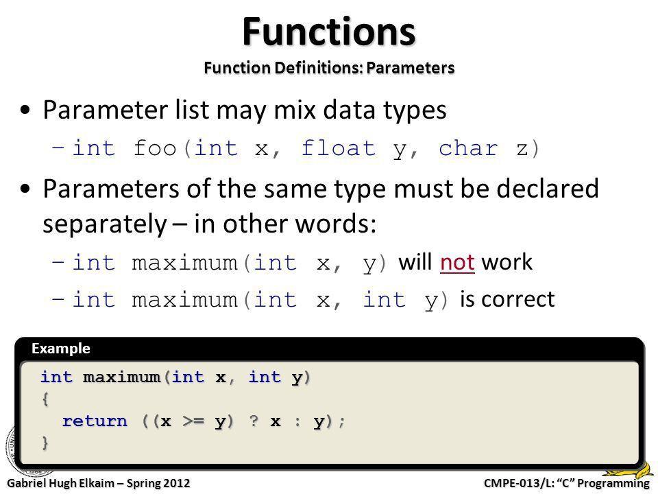 "CMPE-013/L: ""C"" Programming Gabriel Hugh Elkaim – Spring 2012 CMPE ..."