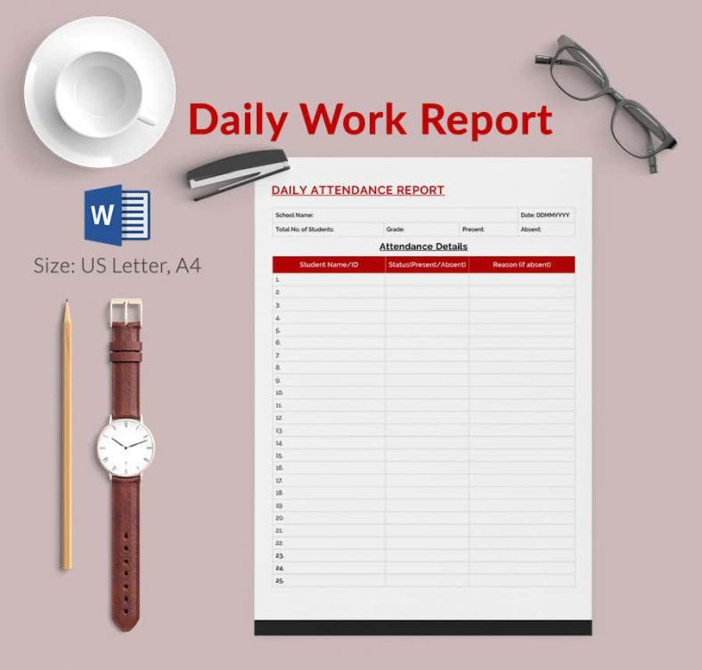 Daily Performance Report Format Daily Work Report Template Free – Daily Report Template Word