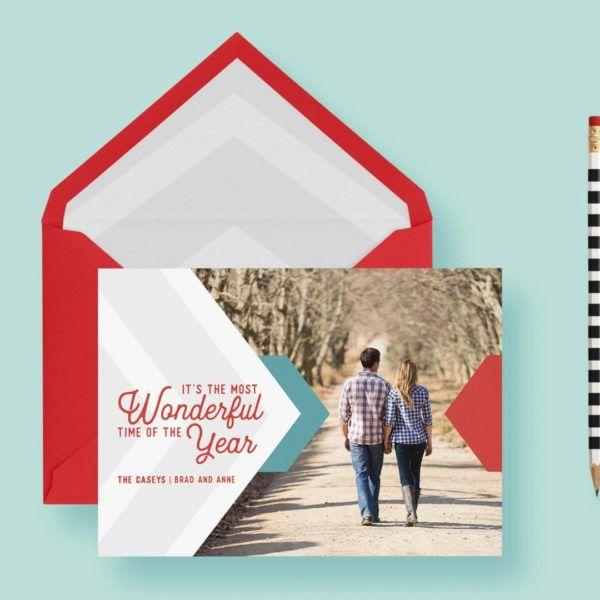 Chevron Modern Clean Geometric Christmas Custom Photo Cards ...