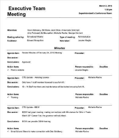 Informal Meeting Minutes Template - 9+ Free Word, PDF Documents ...
