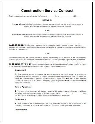 Construction Contract Template Word [Nfgaccountability.com ]