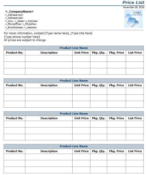 8 Free Wholesale Price List Templates – Stationery Templates
