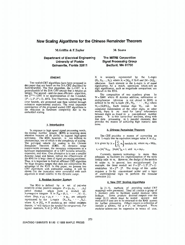 New Scaling Algorithms For The Chinese Remainder Theorem - IEEE ...