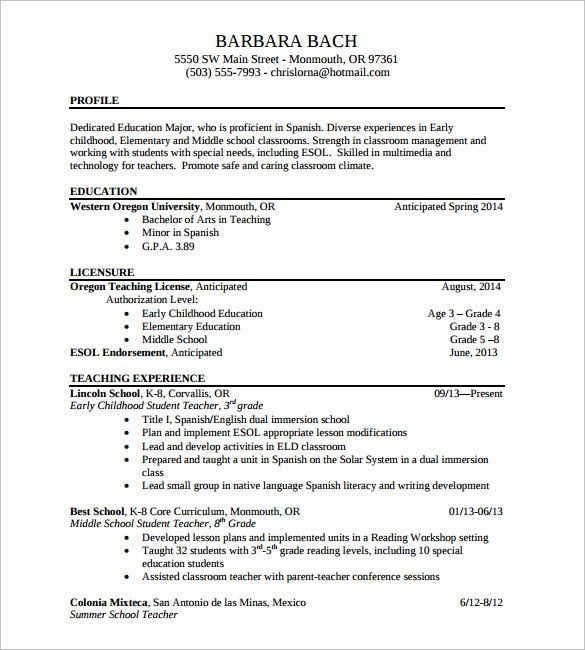 Sample Elementary Teacher Resume   12 + Documents In PDF, Word