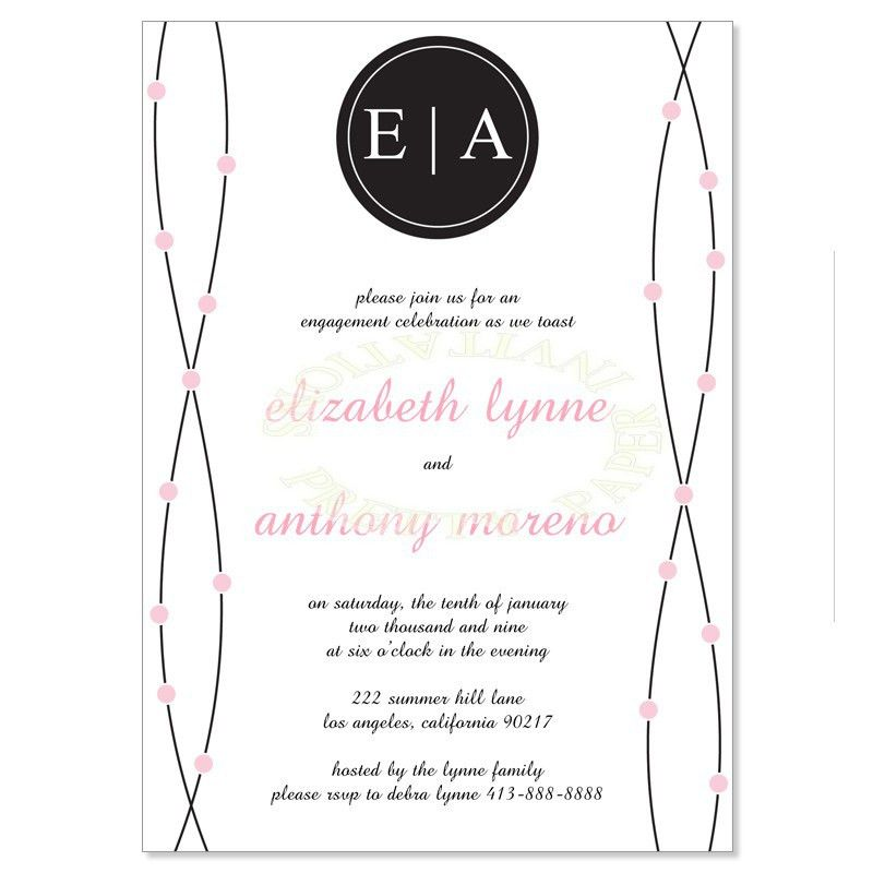 Pink & Black Engagement Party Invitation Templates - Anne Petal Do ...