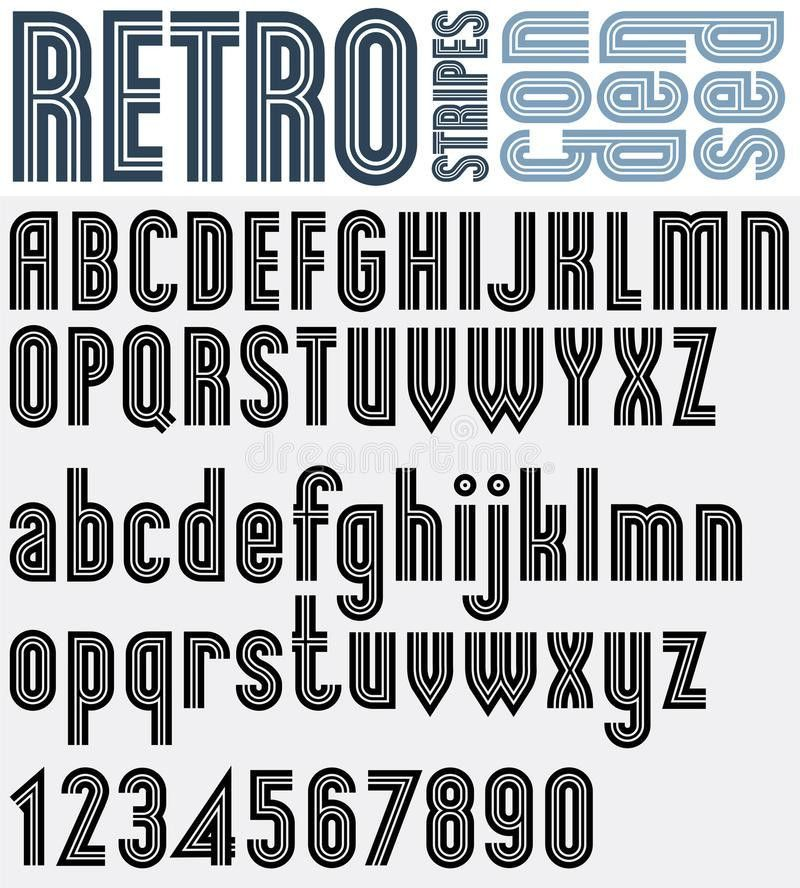 Retro Striped Black And White Font And Numbers With Outline, Bol ...