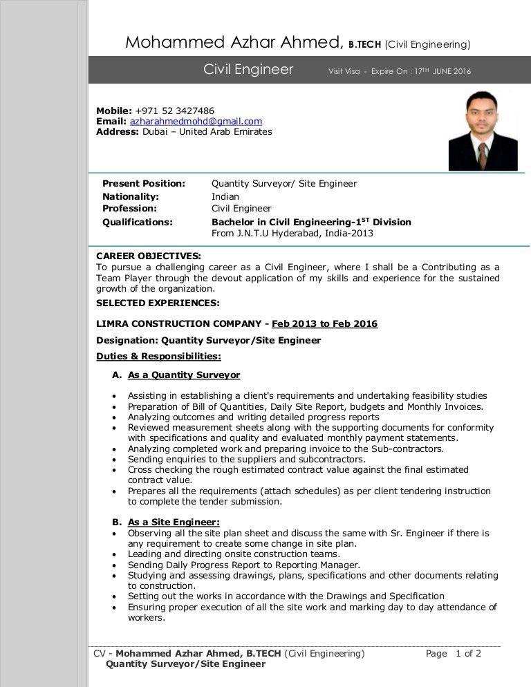 Quantity Surveyor Resume] Quantity Surveyor Resume Samples Visualcv ...