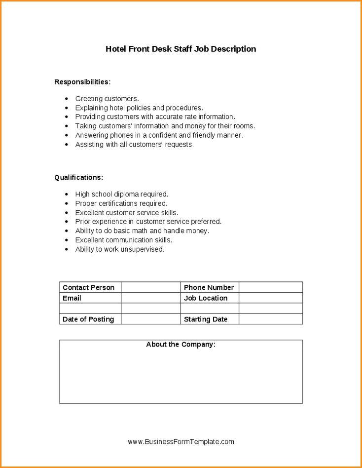 12+ front desk manager job description | Invoice Template Download
