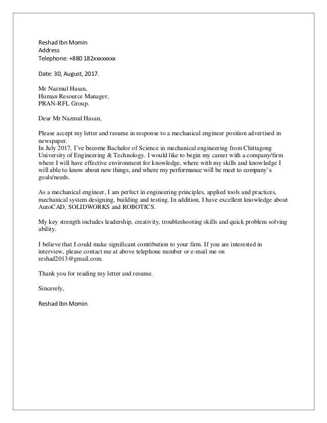 mechanical engineer cover letter example mechanical engineering ...