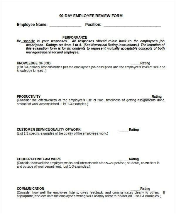Employee Review Form Free Download | Cover Letter For Resume ...