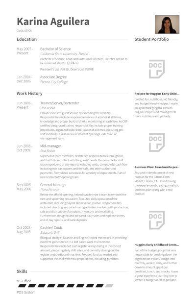 Server, Bartender Resume samples - VisualCV resume samples database