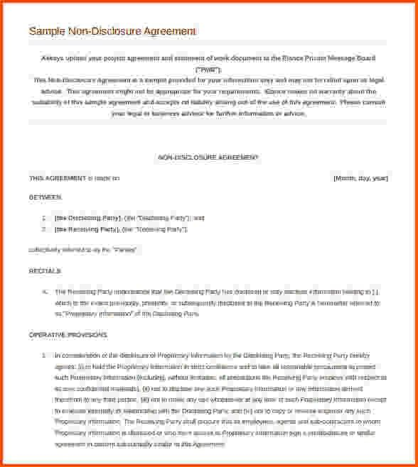 10+ non disclosure agreement template word | Survey Template Words