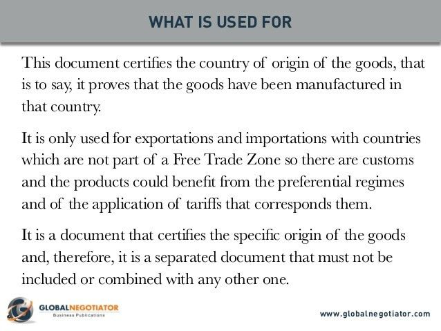 CERTIFICATE OF ORIGIN - Form and User Guide