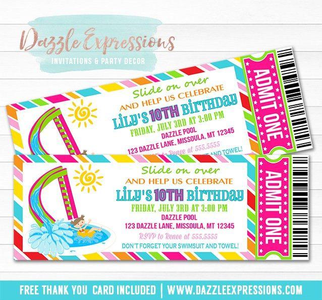 Printable Girl Pool Party Ticket Birthday Invitation - Water Slide ...