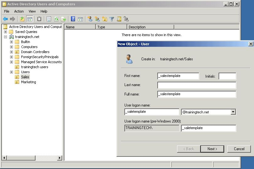 Creating Users with Templates on Sever 2008 R2 Active Directory ...