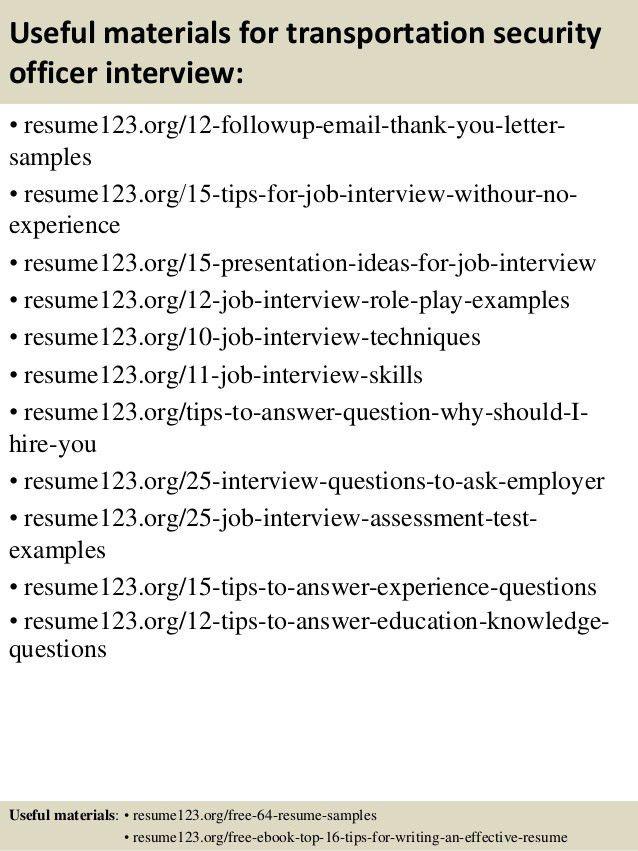 Top 8 transportation security officer resume samples