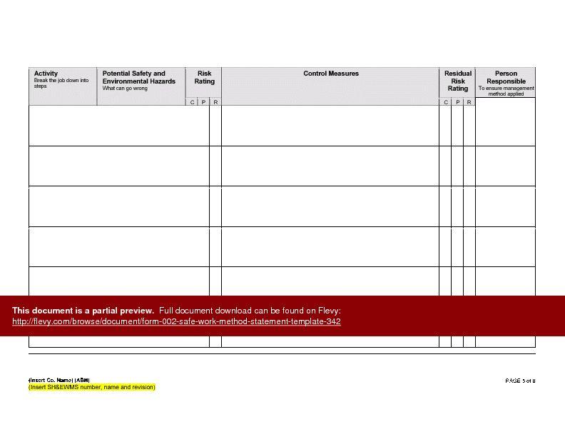 Form 002 - Safe Work Method Statement Template (Word)