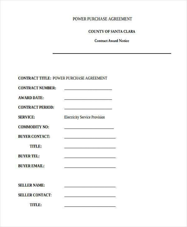 7+ Power Purchase Agreement Form Samples - Free Sample, Example ...